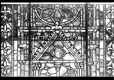 Vitrail, REPRESENTATION SYMBOLIQUE DE L'EGLISE DE REIMS, ABSIDE, CENTRE, baie 200, LANCETTE DE GAUCHE, REPARE EN 1929