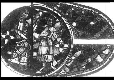 Vitrail, Dieur parme à Cain, façade du bras nord du transept, baie 215, rose, médaillon 7
