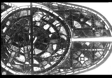 Vitrail, Adam bêchant, façade du bras nord du transept, baie 215, rose, médaillon 6