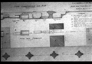 Plan et coupe longitudinale des fouilles du choeur cotée par Henri Deneux