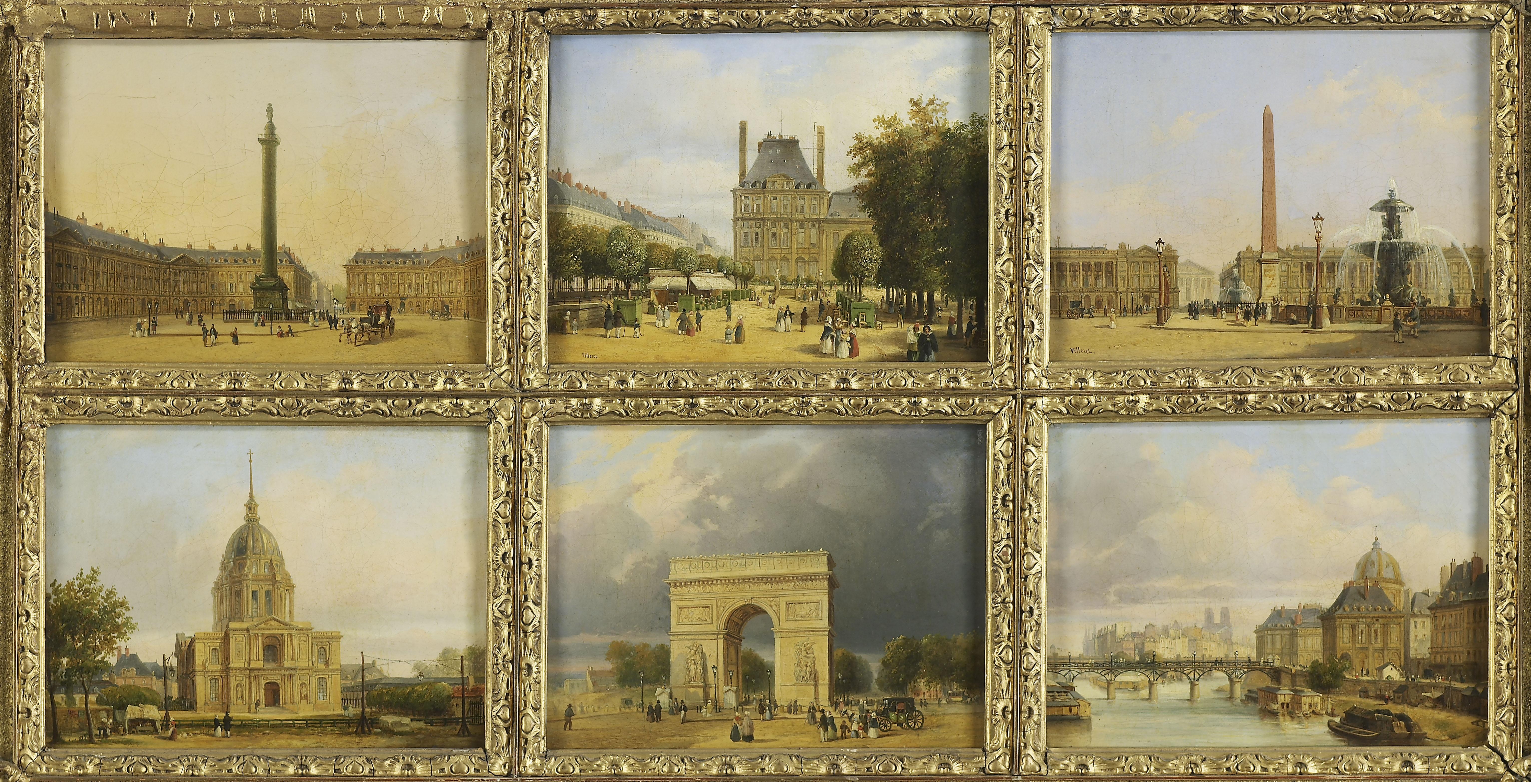 Six petites vues de Paris : Invalides, Place de la Concorde, Arc de Triomphe de l'Etoile, Pavillon de Marsan, Tuileries, Place Vendôme, Passerelle des Arts_0