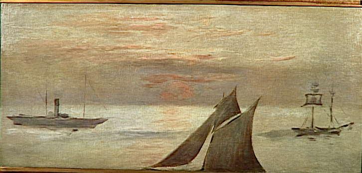 Bateaux en mer ; soleil couchant_0