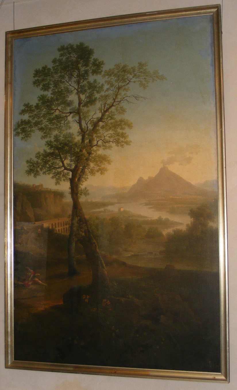 Paysage italianisant avec un volcan et pont_0