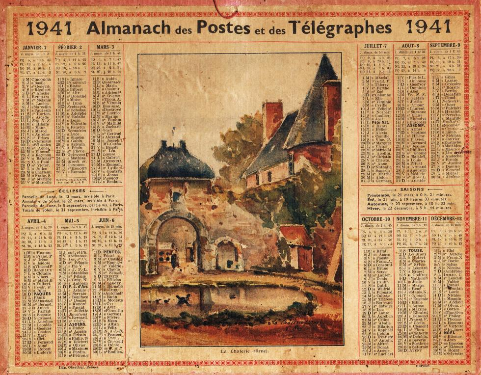 (24/24) Calendrier des postes de 1941