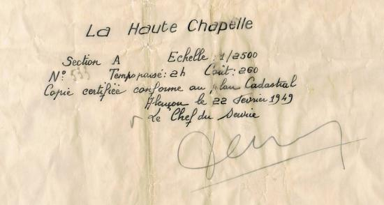 Le plan est daté du 22 février 1949.