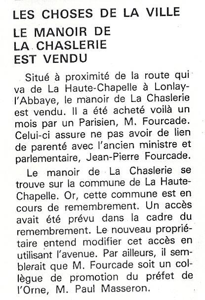 Entrefilet paru dans le numéro du 10 mai 1991 du
