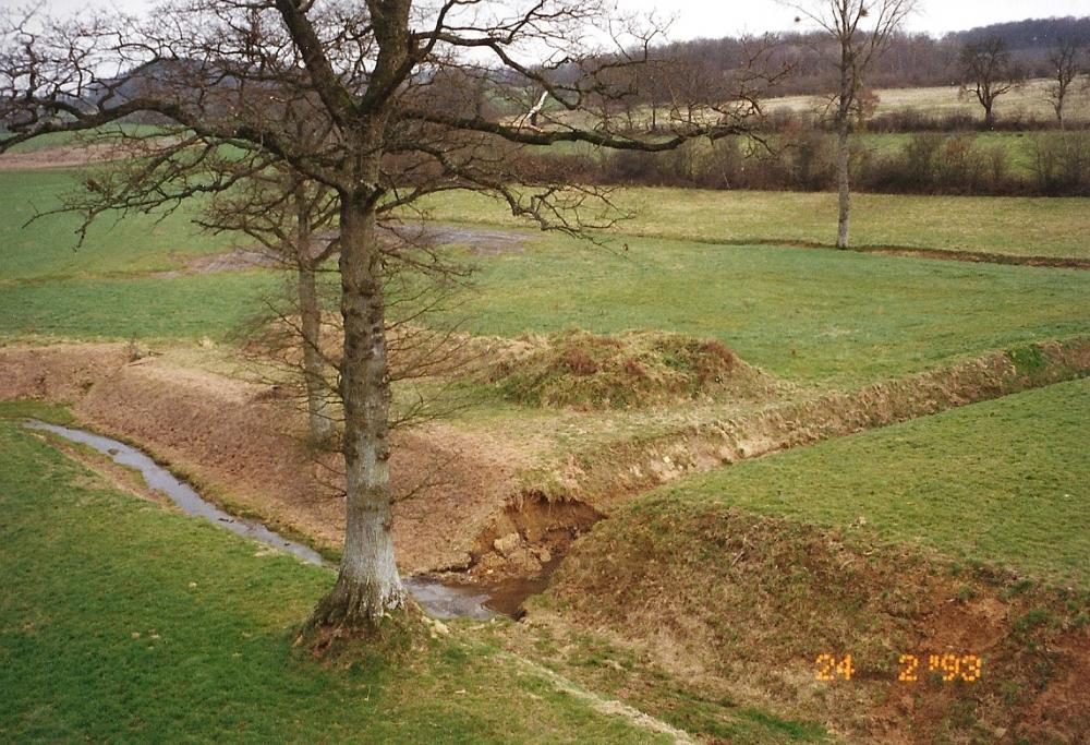 Février 1993, débouché du canal d'alimentation dans la douve Sud.