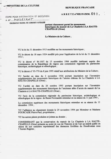 Page 1 de l'arrêté de classement de 1995.
