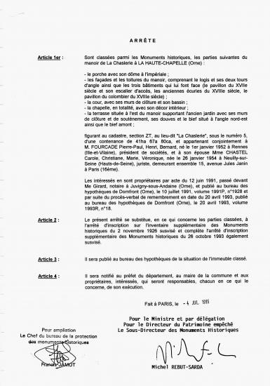 Page 2 de l'arrêté de classement de 1995.