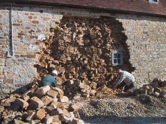 28 janvier 2008, le même mur au retour sur le chantier, juste après le déjeuner.