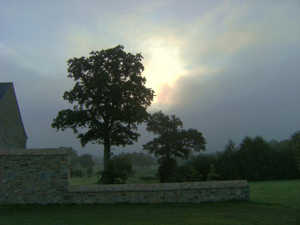 15 août 2009, effet de soleil levant derrière le mur Oust de la douve Sud.