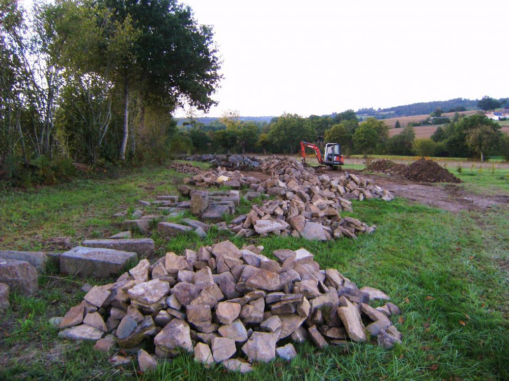 7 octobre 2010, vue des pierres triées.