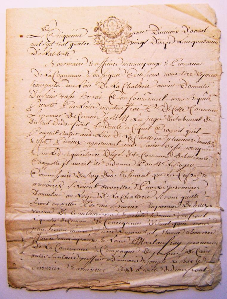 Première page de l'inventaire du 5 août 1792