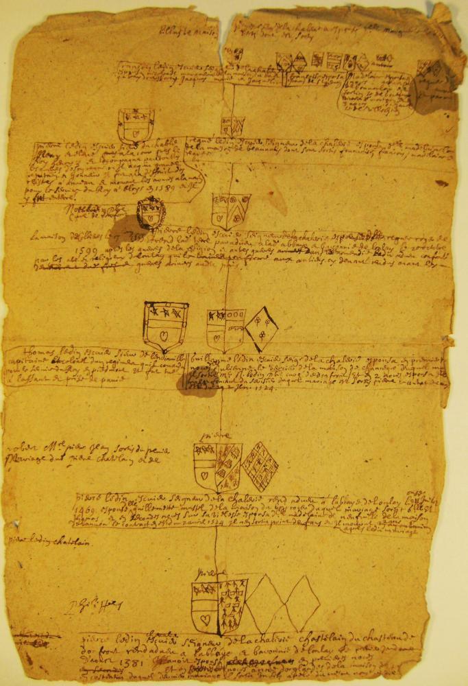 Recto d'une première page manuscrite d'héraldique du fonds Durand de Saint-Front (il n'y a rien sur le verso).