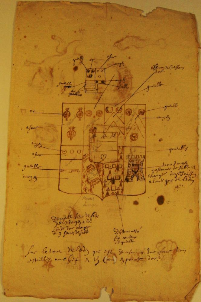 Recto d'une deuxième page manuscrite d'héraldique du fonds Durand de Saint-Front.