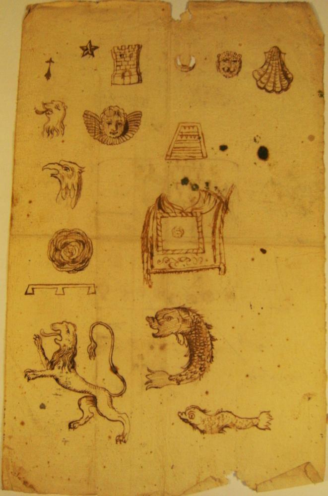Verso d'une deuxième page manuscrite d'héraldique du fonds Durand de Saint-Front.