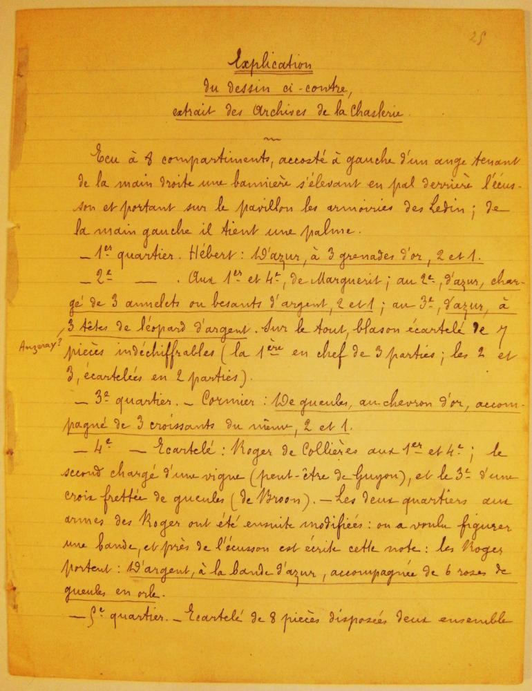 Verso d'une quatrième page manuscrite d'héraldique du fonds Durand de Saint-Front.