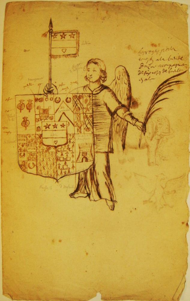 Recto d'une troisième page manuscrite d'héraldique du fonds Durand de Saint-Front.