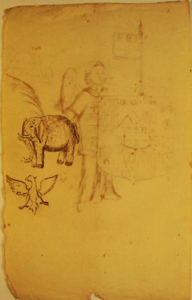 Verso d'une troisième page manuscrite d'héraldique du fonds Durand de Saint-Front.
