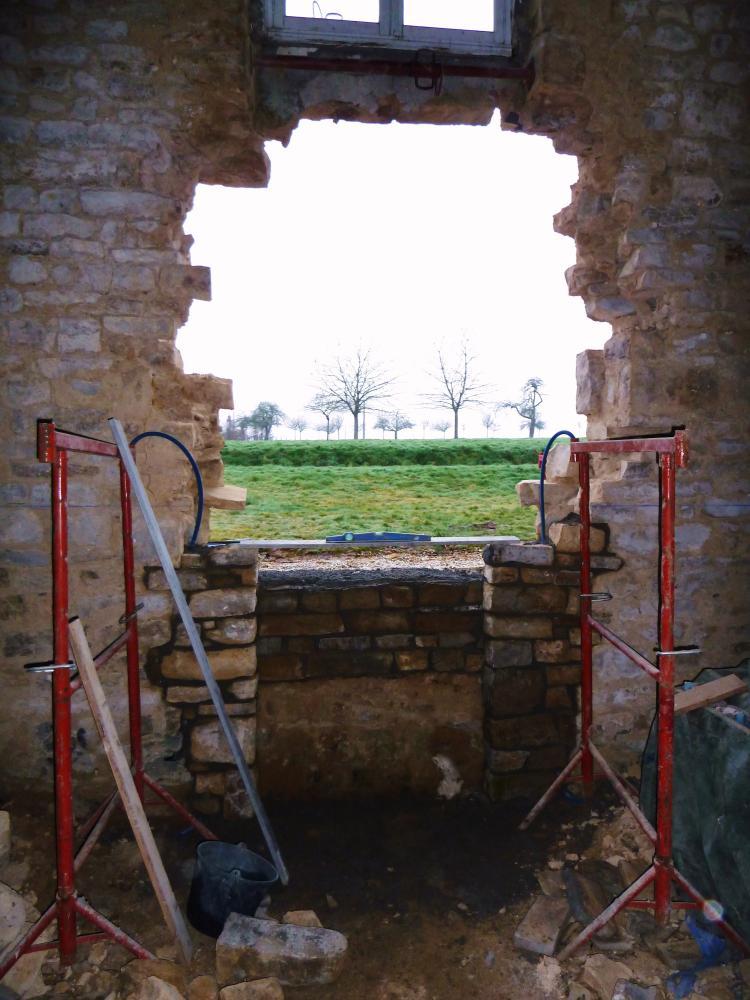 25 février 2011, le chantier en début de journée, vu de l'intérieur.