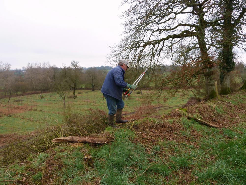 25 février 2011, Bernard en train de récurer le Tertre Linot.