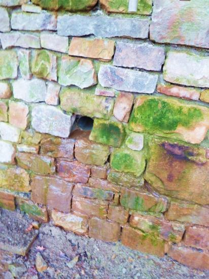 12 janvier 2012, aperçu des premières pierres du mur Ouest de la douve Nord, vues de l'Est.