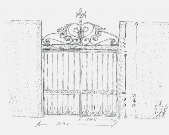 Proposition initiale de Roland FORNARI pour le portail du mur entre la chapelle et le manoir.