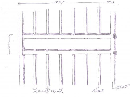 19 juin 2012, autre détail de la contre-proposition de Roland FORNARI pour le portail du mur entre la chapelle et le manoir.