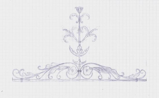 19 juin 2012, projet de couronnement du portail secondaire.