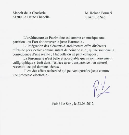 23 juin 2012, réponse de Roland FORNARI à X. Y. Z.