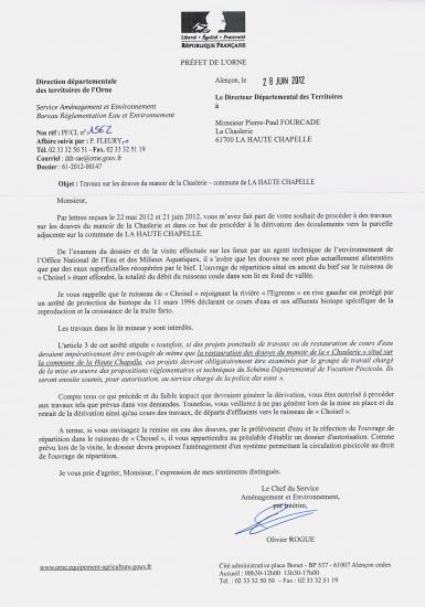 Courrier du 28 juin 2012 de la direction départementale des territoires.