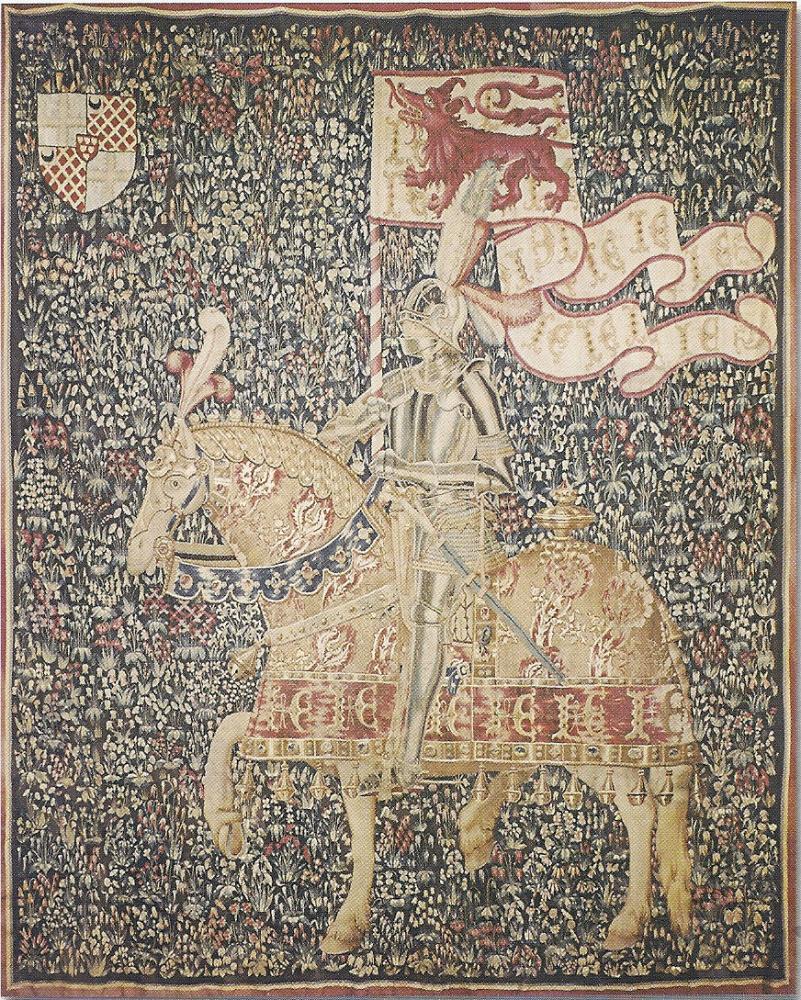Tapisserie mille-fleurs aux armes de Jean de Daillon, seigneur du Lude, capitaine et gouverneur de Domfront de 1474 à 1483.