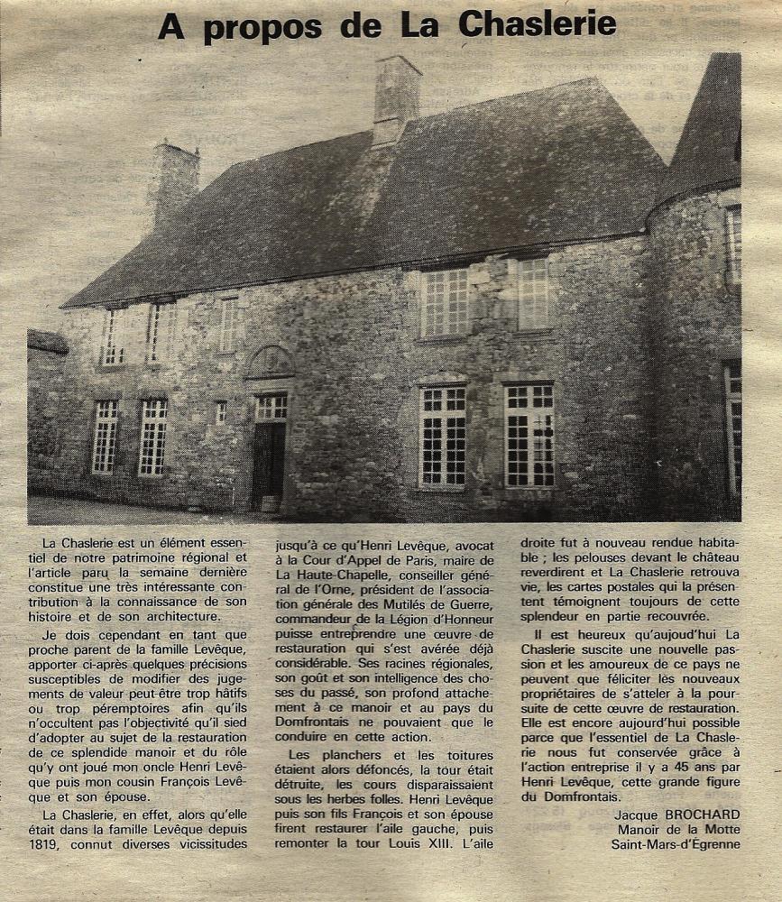 Article de M. BROCHARD dans le numéro du 10 janvier 1992 du 'Publicateur libre'.