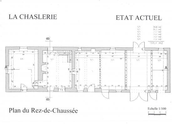 Plan du rez-de-chaussée de la ferme avant travaux.