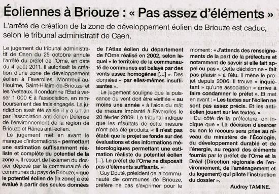 Article paru dans Ouest-France le 31 octobre 2012.