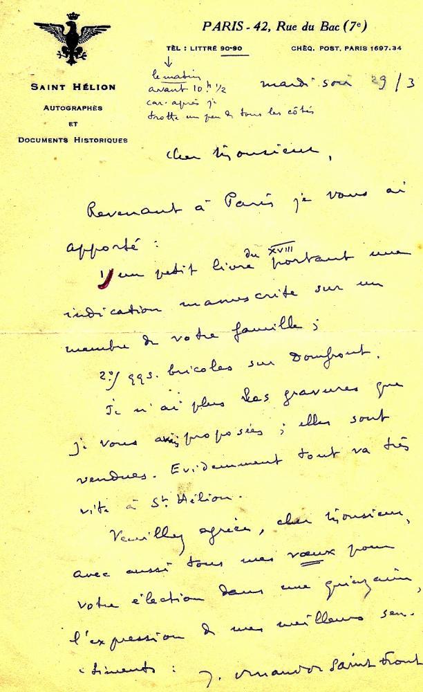 Lettre de Jean DURAND de SAINT-FRONT à Henri LEVEQUE.