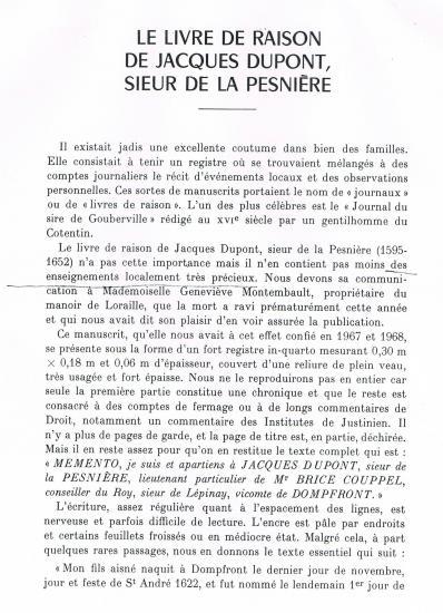 Première page d'un article de 49 pages de Jean DURAND de SAINT-FRONT, paru dans le
