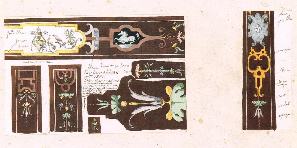 Décor peint de poutres et solives d'une salle du pavillon du Tibre au château de Fontainebleau, relevé à la gouache, crayon et encre noire en 1854.