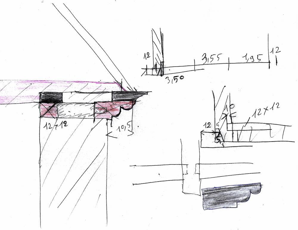 26 février 2011, schéma de la sablière et de la corniche du fournil de la ferme, après restauration.