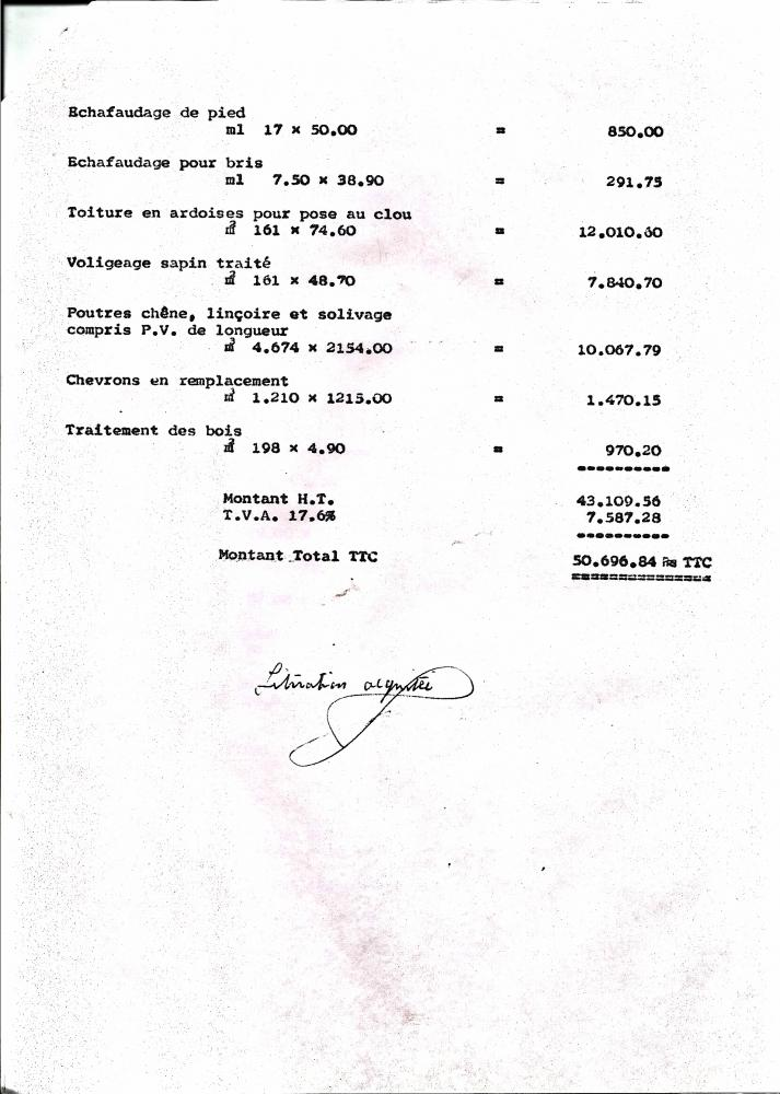 Facture du charpentier-couvreur vers 1973, page 2.
