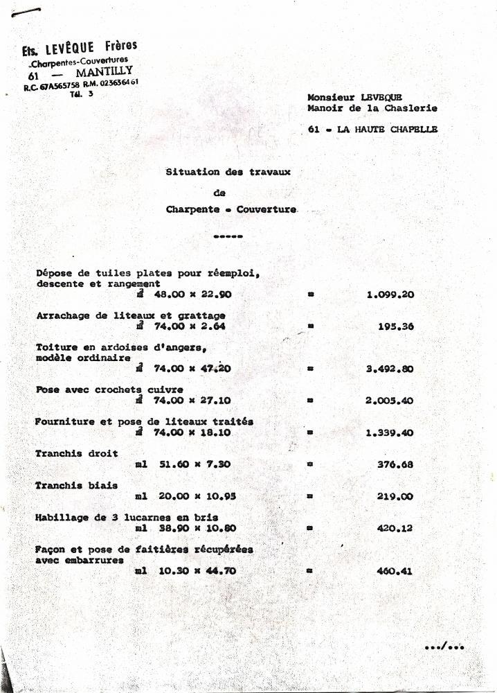 Facture du charpentier-couvreur vers 1973, page 1.