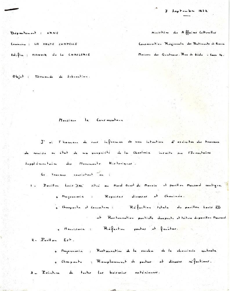 Lettre du 3 septembre 1972 de François LEVÊQUE, page 1.