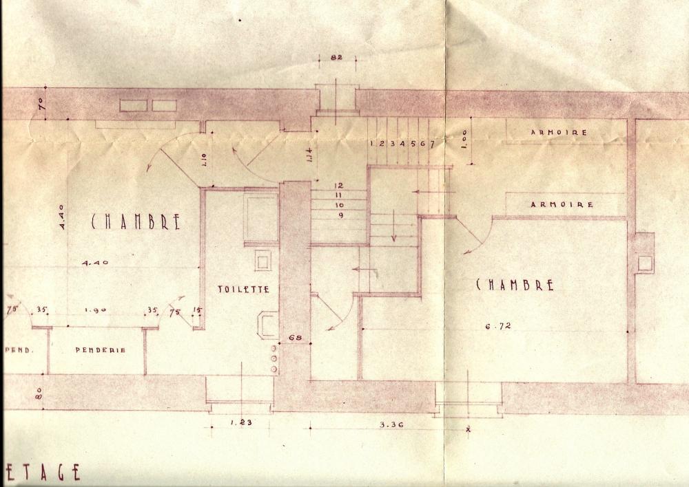 Les plans, approuvés par Lucien PRIEUR, A.C.M.H., le 14 octobre 1952 (le 1er étage).