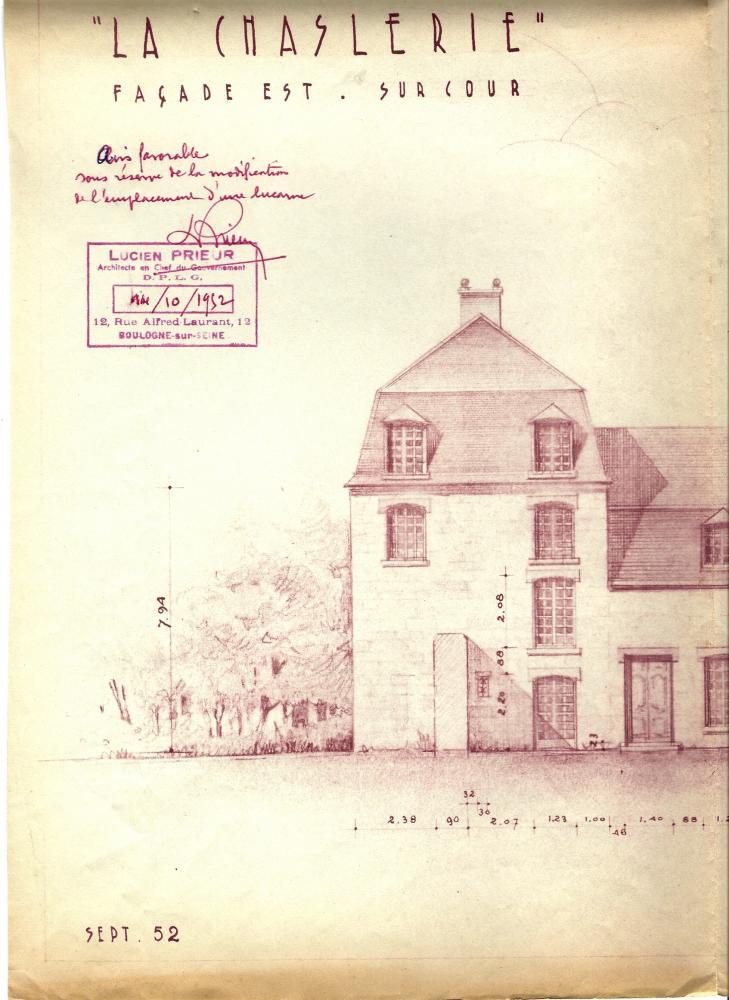 Les plans, approuvés par Lucien PRIEUR, A.C.M.H., le 14 octobre 1952 (le colombier percé de deux nouvelles fenêtres au 1er étage sur sa façade Est).
