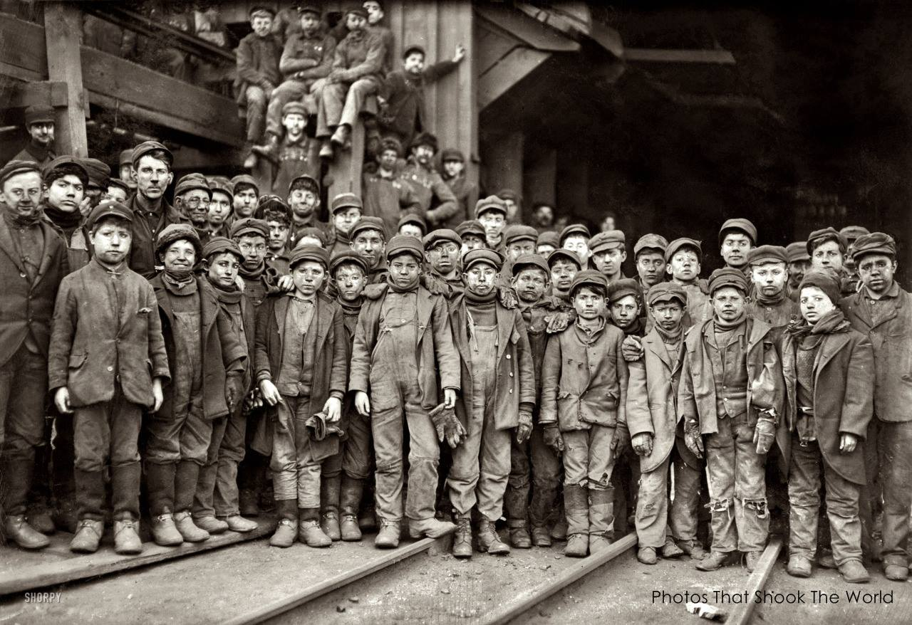 Breaker boys, 1910. This is a photograph of breaker boys – whose job was to separate impurities from coal by hand in a coal breaker. This image helped lead the nation to outlaw child labor. The photo was taken by Lewis Hine who traveled the United States taking photographs of child laborers.