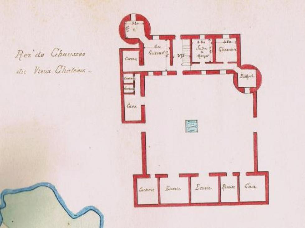 Le plan du rez-de-chaussée des bâtiments sur cour en 1883.