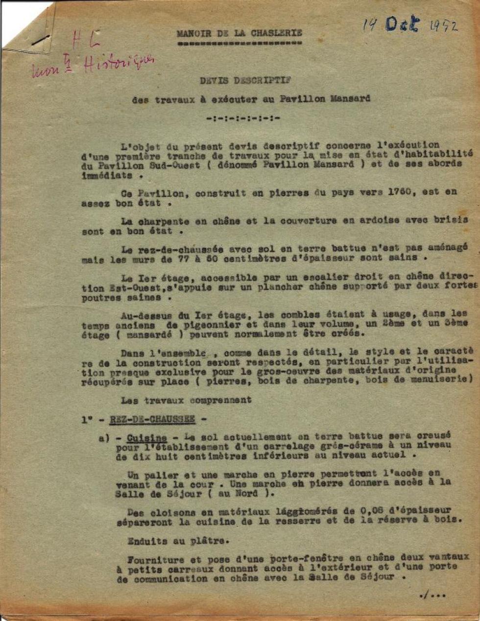 14 octobre 1952, descriptif des travaux envisagés par Henri LEVEQUE sur le colombier et l'écurie de la Chaslerie, page 1.