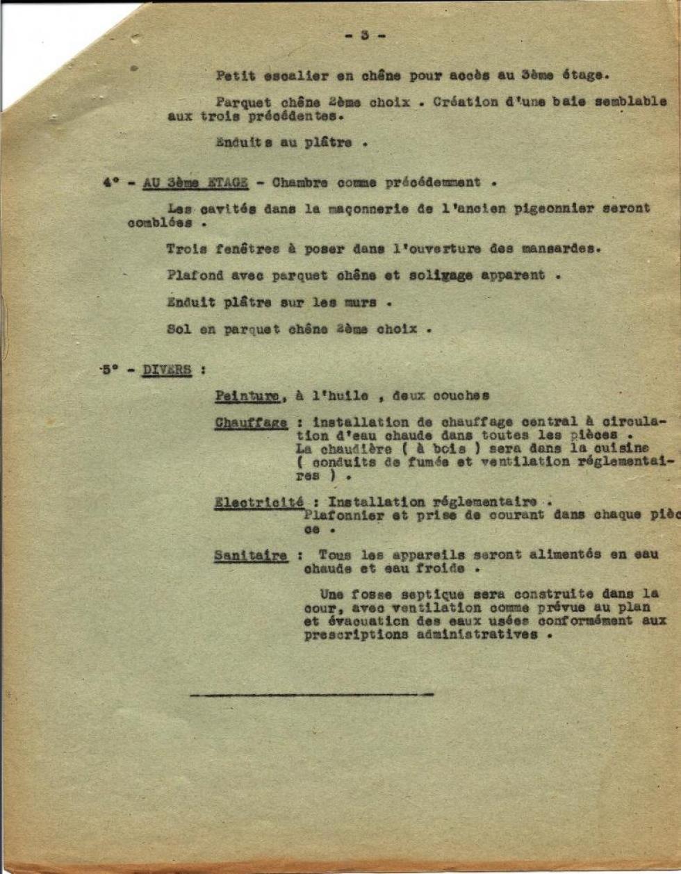 14 octobre 1952, descriptif des travaux envisagés par Henri LEVEQUE sur le colombier et l'écurie de la Chaslerie, page 2.