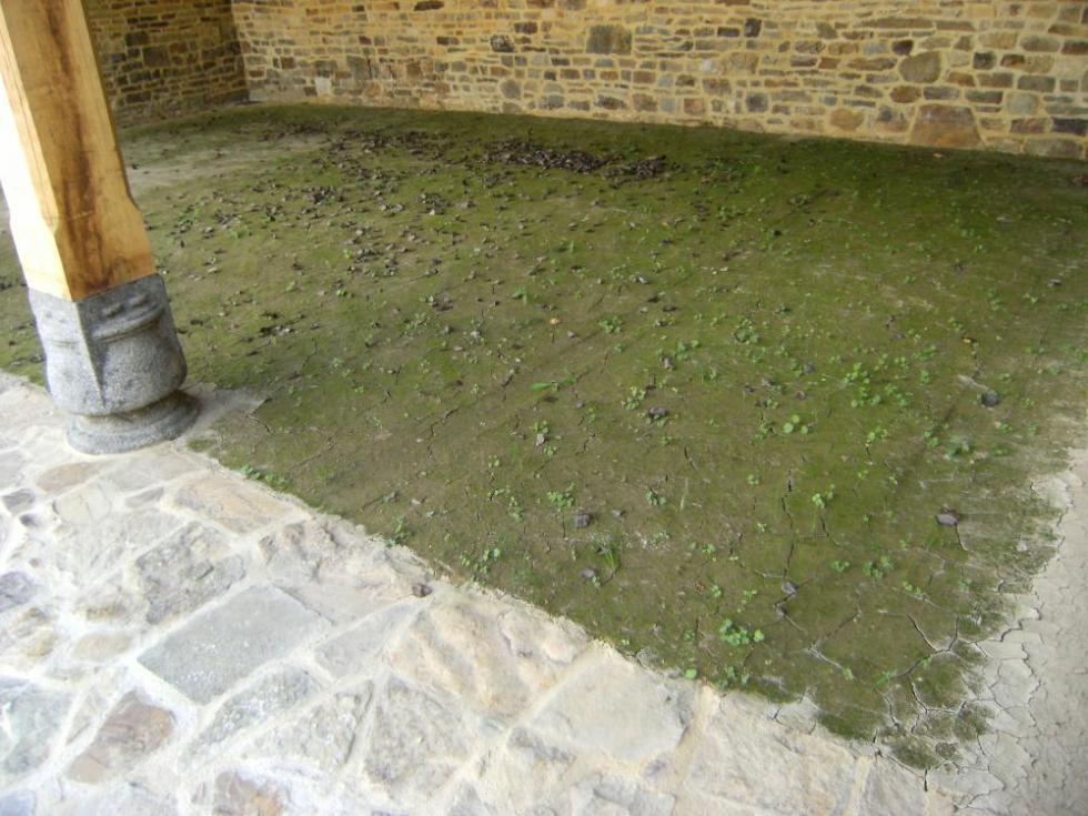 19 septembre 2010, la terre battue tarde à sécher dans la charretterie.