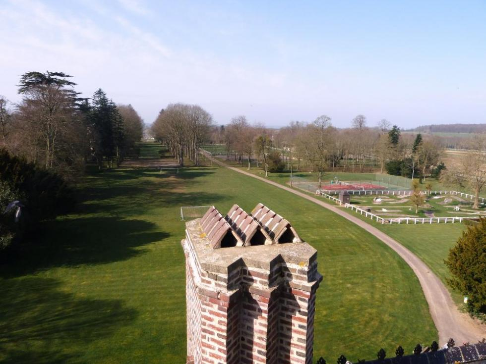25 mars 2011, le parc martyrisé du château de Rânes, vu du sommet de la tour.
